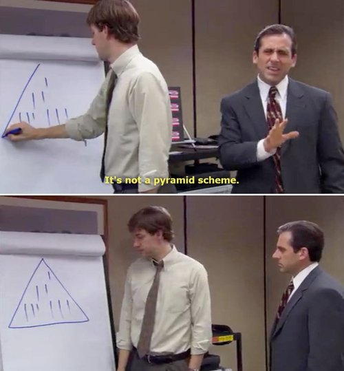 Example of The Office explaining a pyramid scheme. (c) 2006 NBC